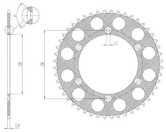 Obrázek produktu duralová rozeta pro sekundární řetězy typu 520, SUNSTAR (52 zubů)