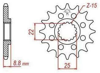 Obrázek produktu řetězové kolečko pro sekundární řetězy typu 520, JT - Anglie (15 zubů)