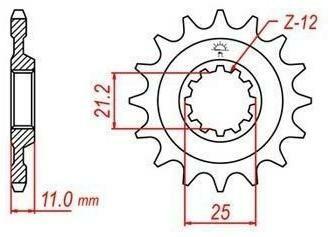 Obrázek produktu řetězové kolečko pro sekundární řetězy typu 520, JT - Anglie (14 zubů)