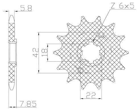 Obrázek produktu řetězové kolečko pro sekundární řetězy typu 520, SUNSTAR (13 zubů)