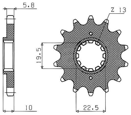 Obrázek produktu řetězové kolečko pro sekundární řetězy typu 520, SUNSTAR (15 zubů)