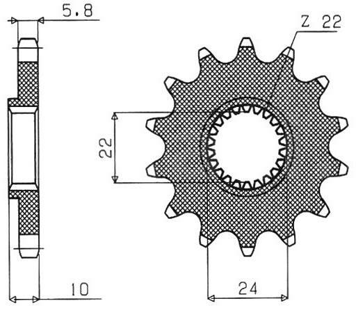 Obrázek produktu řetězové kolečko pro sekundární řetězy typu 520, SUNSTAR (16 zubů)