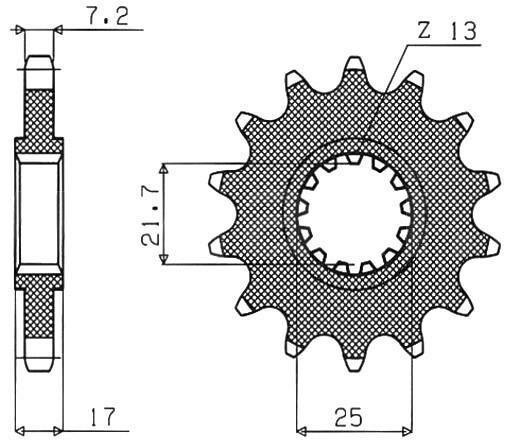 Obrázek produktu řetězové kolečko pro sekundární řetězy typu 525, SUNSTAR (15 zubů)