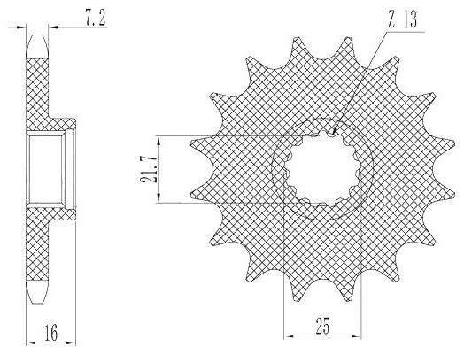 Obrázek produktu řetězové kolečko pro sekundární řetězy typu 525, SUNSTAR (16 zubů)