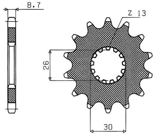 Obrázek produktu řetězové kolečko pro sekundární řetězy typu 530, SUNSTAR (19 zubů)