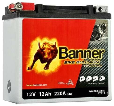 Obrázek produktu baterie 12V, ETX 14, 12Ah, 220A, BANNER Bike Bull AGM PRO 150x88x145 AGMPRO 514 01