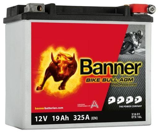 Obrázek produktu baterie 12V, ETX 16 l, 19Ah, 325A, BANNER Bike Bull AGM PRO 175x100x155 AGMPRO 516 01