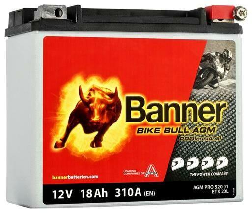 Obrázek produktu baterie 12V, ETX 20L, 18Ah, 310A, BANNER Bike Bull AGM PRO 175x88x155