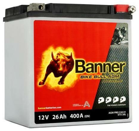 Obrázek produktu baterie 12V, ETX 30 l, 26Ah, 400A, BANNER Bike Bull AGM PRO 168x131x197 AGMPRO 530 01