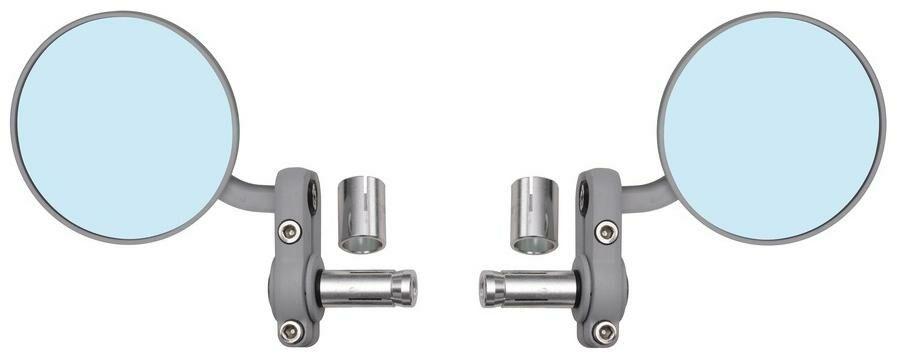 Obrázek produktu zpětné zrcátko univerzální do konců řidítek pro vnitřní průměr 13 mm, OXFORD - Anglie (stříbrné, průměr zrcátka 68 mm, pár) OX578