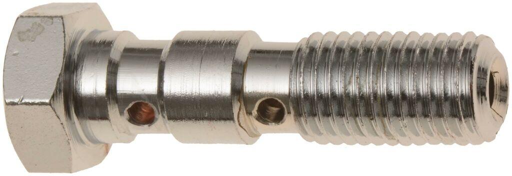 Obrázek produktu průtokový šroub dvojitý M10 x 1,25 mm (pochromovaná ocel) BANJO BOLT 10X1,25 DOUBLE HOLE
