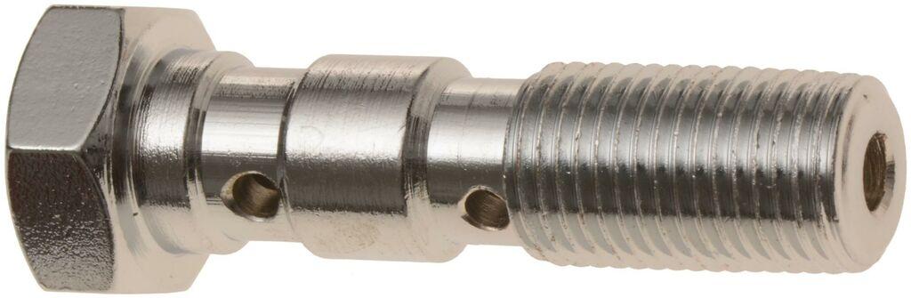 Obrázek produktu průtokový šroub dvojitý M10 x 1 mm (pochromovaná ocel) BANJO BOLT 10X1 DOUBLE HOLE