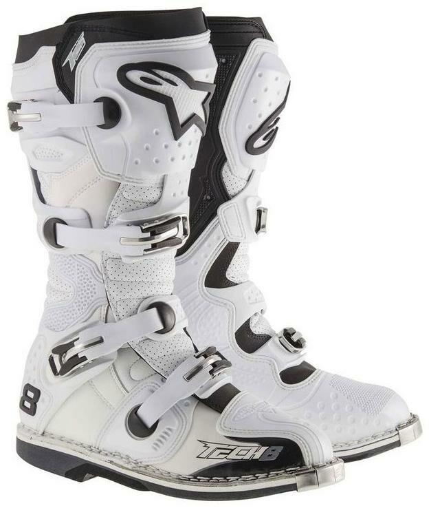 boty TECH 8 RS VENTED, ALPINESTARS (bílé, perforovaná obšívka) (Velikost: 39)