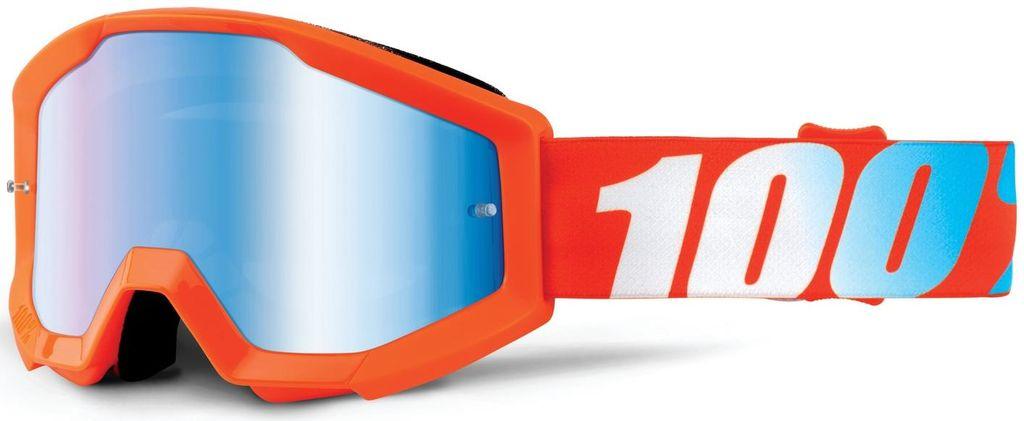 Obrázek produktu brýle Strata Orange, 100% dětské (oranžová, modré chrom plexi s čepy pro slídy) 50510-006-02