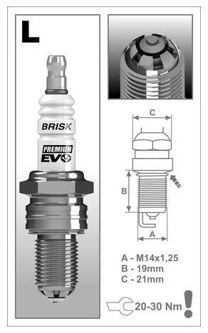 Obrázek produktu zapalovací svíčka LR15SXC řada Premium EVO , BRISK - Česká Republika 1902