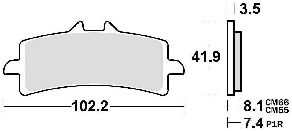 Obrázek produktu brzdové destičky, BRAKING (semi metalická směs CM66) 2 ks v balení 930CM66