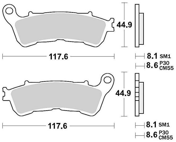 Obrázek produktu brzdové destičky, BRAKING (sinterová směs P30) 2 ks v balení