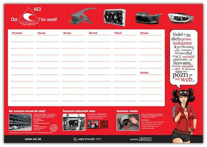 Obrázek produktu Blok ACI na pracovní stůl - SK, týdenní kalendář, 48x34 cm
