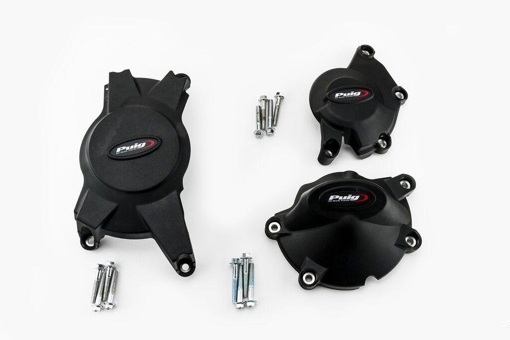 Obrázek produktu Ochranné kryty motoru PUIG černý zahrnuje pravý, levý kryt a kryt alternátoru 20125N