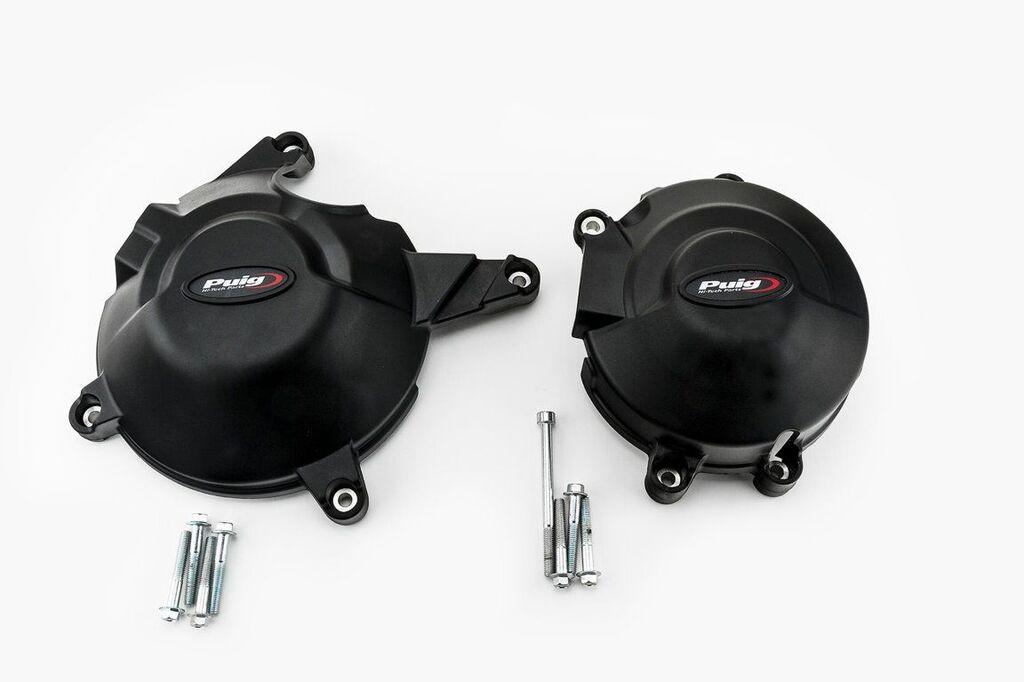 Obrázek produktu Ochranné kryty motoru PUIG černý zahrnuje pravý a levý kryt 20131N