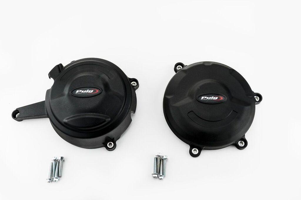 Obrázek produktu Ochranné kryty motoru PUIG černý zahrnuje pravý a levý kryt 20138N