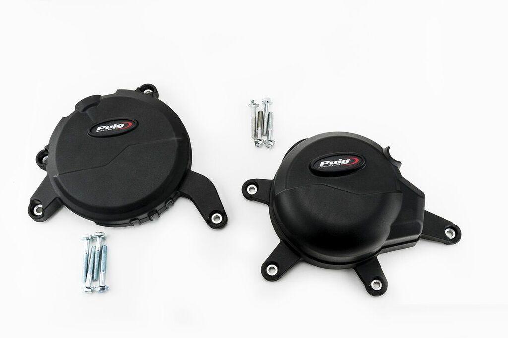 Obrázek produktu Ochranné kryty motoru PUIG černý zahrnuje pravý a levý kryt 20141N