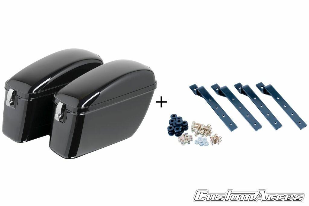 Obrázek produktu Boční kufry CUSTOMACCES SILVER černý pair, with KF universal support