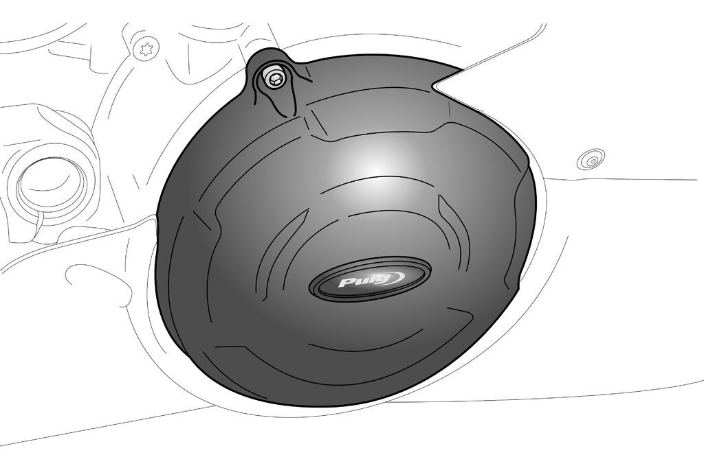 Obrázek produktu Engine protective covers PUIG černý zahrnuje pravý, levý kryt a kryt alternátoru 20169N