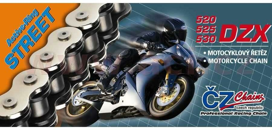 Obrázek produktu řetěz 530DZX, ČZ - ČR (barva černá, 110 článků vč. nýtovací spojky RIVET)