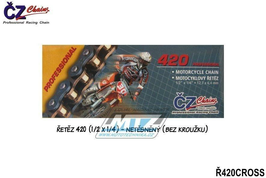 Obrázek produktu Řetěz ČZ 420 CROSS (128čl) - netěsněný/bezkroužkový (4229)