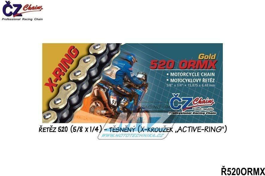 Obrázek produktu Řetěz ČZ 520 ORMX (116čl) - těsněný/ x kroužkový (zlatý) (4261)