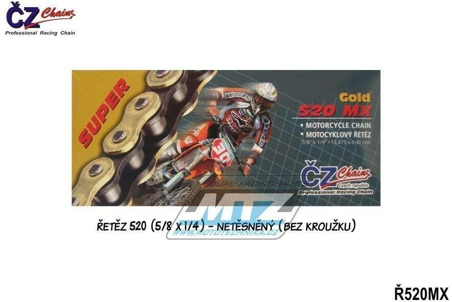 Obrázek produktu Řetěz ČZ 520 MX (114čl) - netěsněný/ bezkroužkový (zlatý) (4249)