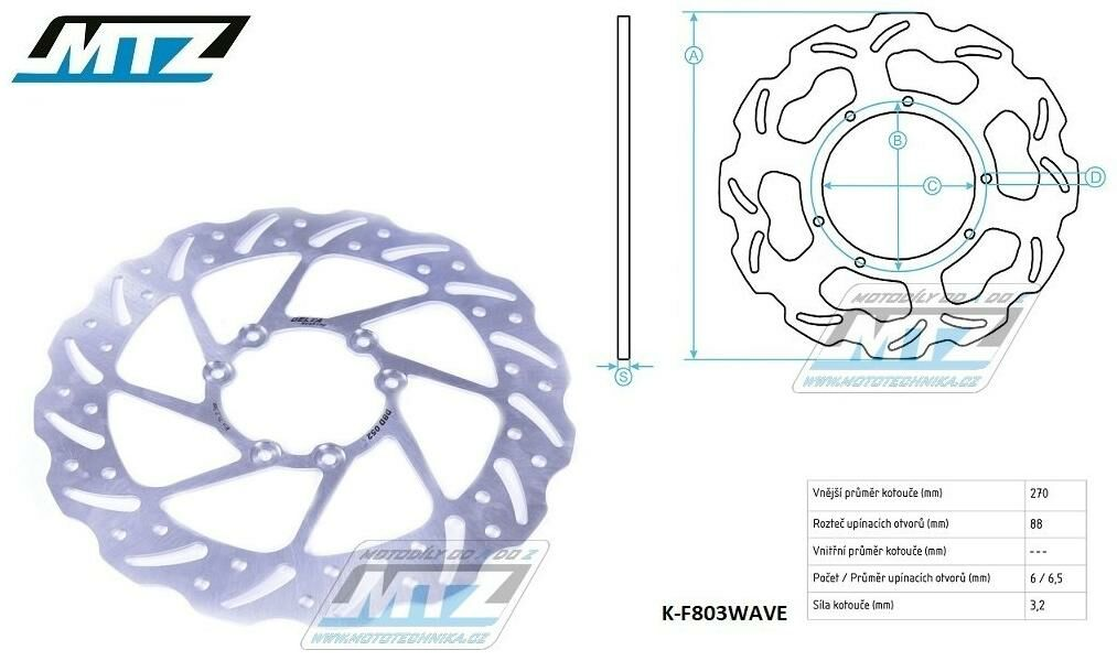 Obrázek produktu Kotouč brzdový MTZ nerezový - zubatý desing Wave - TM EN125+MX125+EN144+MX144+EN250+MX250+EN250F+MX250F+EN300+MX300+EN450F+MX450F+EN530F+MX530F (k-f803w)