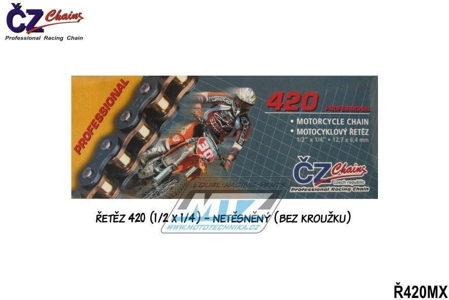 Obrázek produktu Řetěz ČZ 420 MX (128čl) - netěsněný/bezkroužkový (zlatý) (4231)