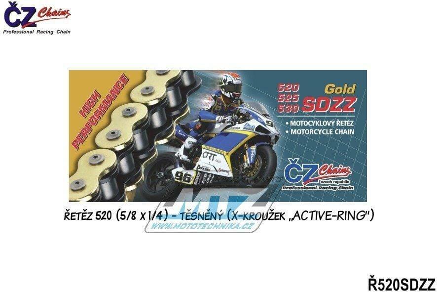 Obrázek produktu Řetěz ČZ 520 SDZZ (112čl) - těsněný/ x kroužkový (zlatý) (4282)