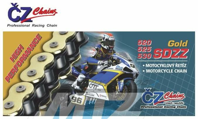 Obrázek produktu Řetěz ČZ 530 SDZZ (110čl) - těsněný/ x kroužkový (zlatý) (retez-cz-525-sdzz)
