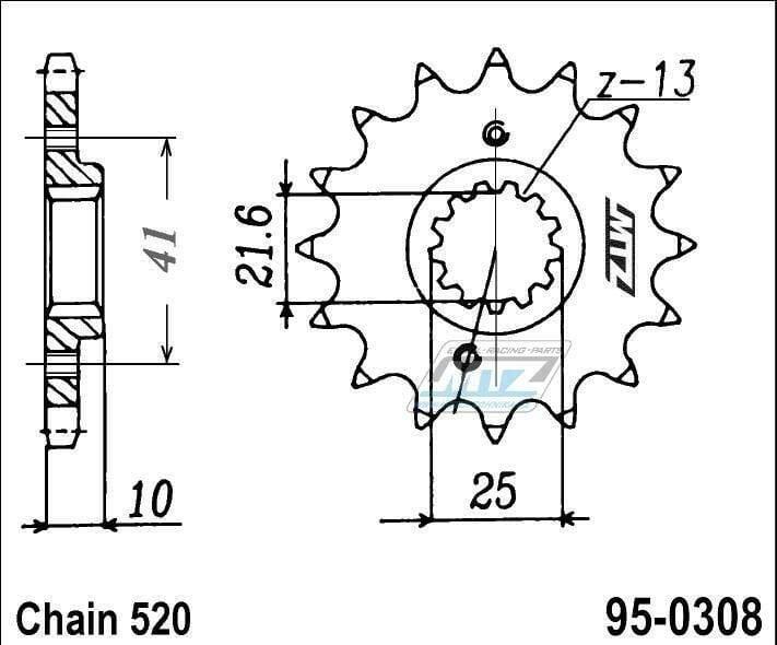 Obrázek produktu Kolečko řetězové (pastorek) 95-0308-16zubů MTZ - Honda FMX650 + FX650 Vigor + SLR650X + NX650 Dominator + SLR650V + Aprilia 650 Pegaso + Derbi 659 Mulhacen + Suzuki GSX-R1100 + Yamaha MT035 + XT660R +