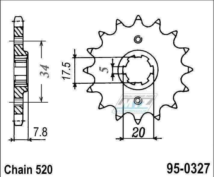 Obrázek produktu Kolečko řetězové (pastorek) 95-0327-14zubů MTZ - Honda CRM125 + NSR125R + VT125C Shadow + XL125V Varadero + CRF150F + CRF230F + XR250R + CBX250H + XR250L + NSR125R + Kymco 50MXer + 50MXU (5601)