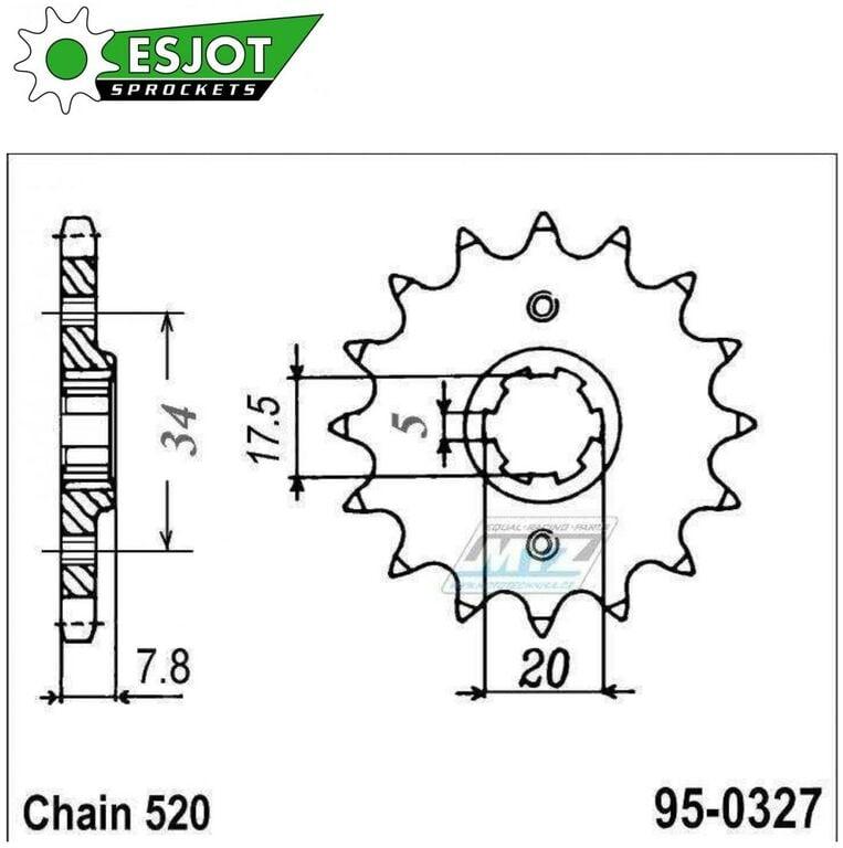 Obrázek produktu Kolečko řetězové (pastorek) 0327-14zubů ESJOT 50-32042-14 - Honda CRM125 + NSR125R + VT125C Shadow + XL125V Varadero + CRF150F + CRF230F + XR250R + CBX250H + XR250L + NSR125R + Kymco 50MXer + 50MXU (e