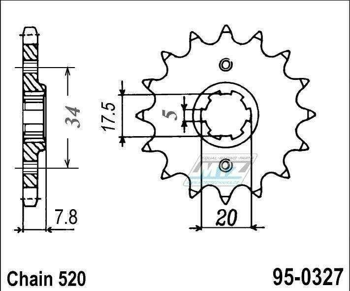 Obrázek produktu Kolečko řetězové (pastorek) 95-0327-15zubů MTZ - Honda CRM125 + NSR125R + VT125C Shadow + XL125V Varadero + CRF150F + CRF230F + XR250R + CBX250H + XR250L + NSR125R + Kymco 50MXer + 50MXU (5602)