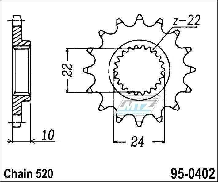 Obrázek produktu Kolečko řetězové 0402-15z MTZ