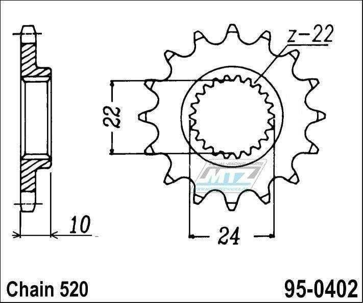 Obrázek produktu Kolečko řetězové 0402-16z MTZ