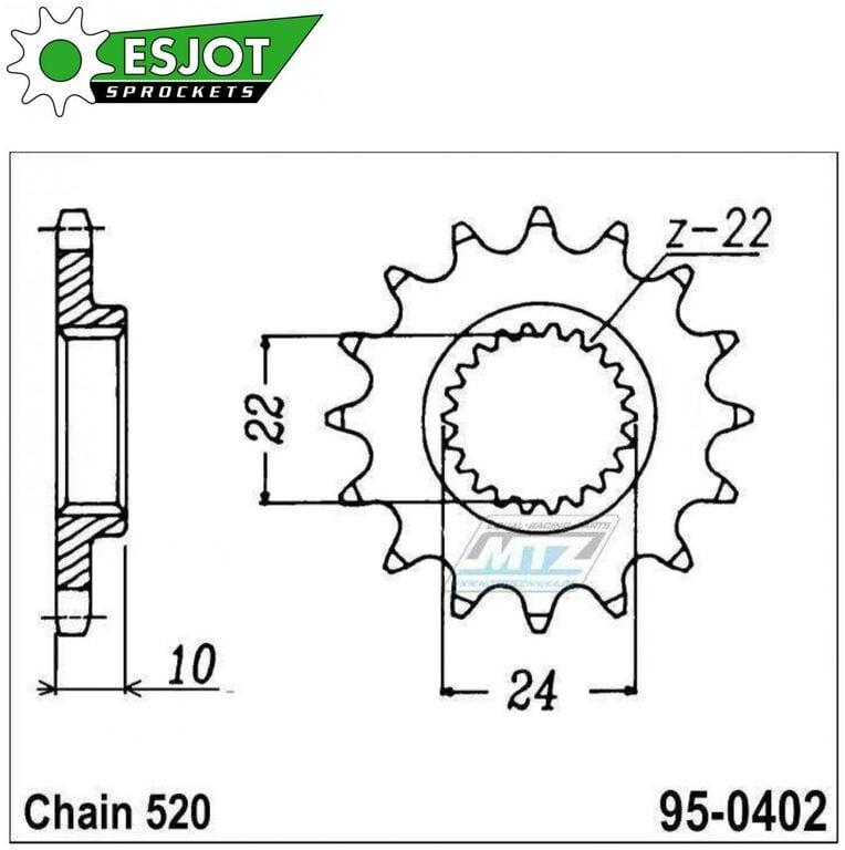 Obrázek produktu Kolečko řetězové 0402-16z ESJOT