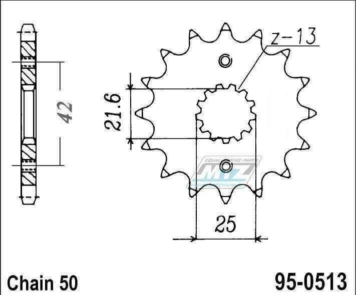 Obrázek produktu Kolečko řetězové (pastorek) 95-0513-16zubů MTZ - Suzuki GS400+GSX400 + GS550+GSF600+GS650+GSXR750+VZ800+RF900R+GSXR1100+GSF1200+GSXR1300R + Kawasaki Z250+GPZ500R+Z550+ZX600+Z650+Z750 + Yamaha RD350+SR