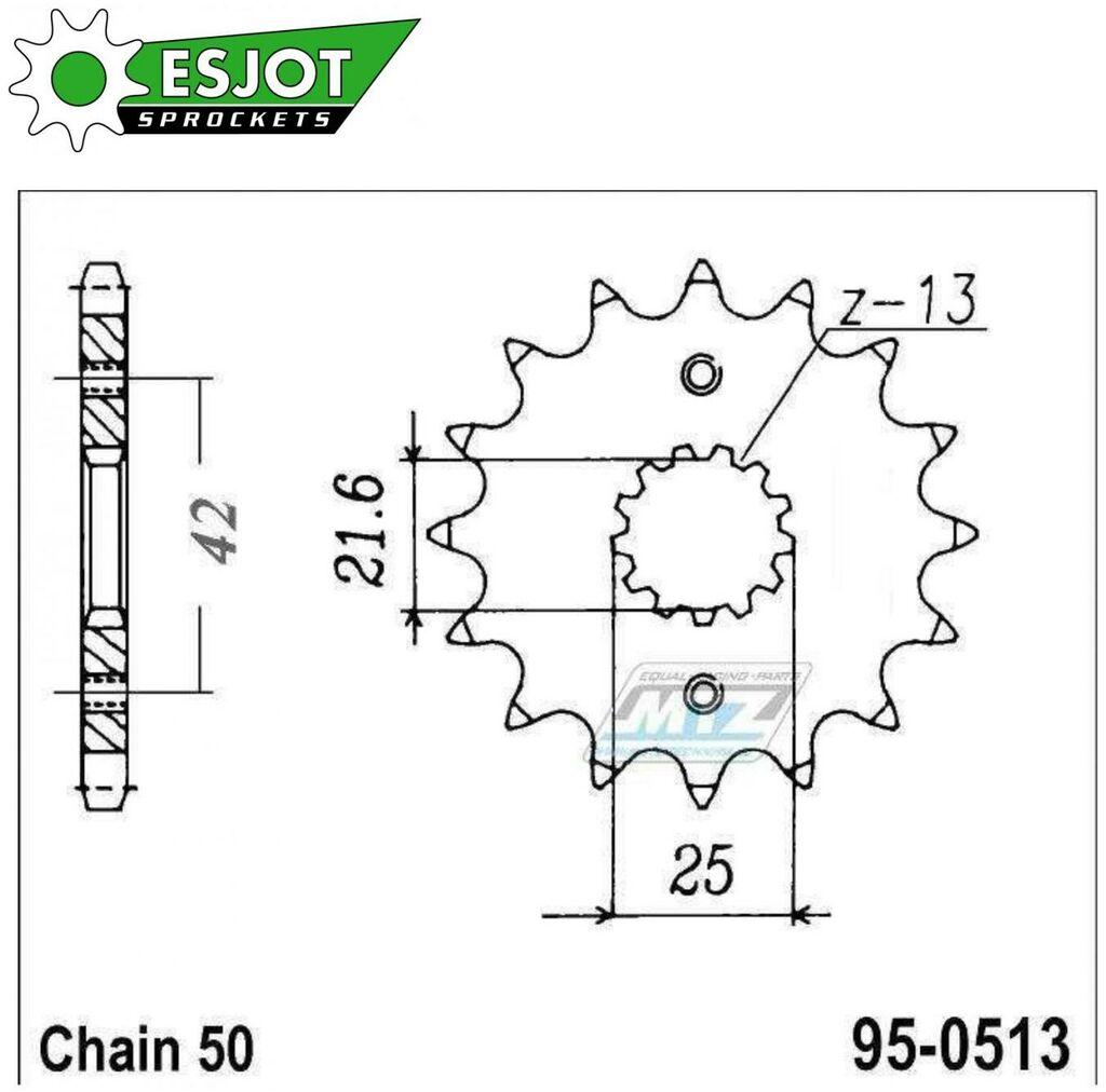 Obrázek produktu Kolečko řetězové (pastorek) 0513-16zubů ESJOT 50-35021-16 - Suzuki GS400+GSX400 + GS550+GSF600+GS650+GSXR750+VZ800+RF900R+GSXR1100+GSF1200+GSXR1300R + Kawasaki Z250+GPZ500R+Z550+ZX600+Z650+Z750 + Yama
