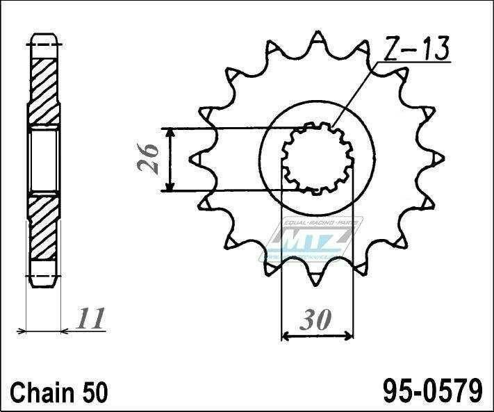 Obrázek produktu Řetězové kolečko (pastorek) 95-0579-15zubů MTZ - Yamaha RD500LC + RZV500R + RZ500F + FZS1000 + FZ1 + YZFR + FZ1N,NA + FZ1S + FZ1 + FZIE + YZF-R1 + FJ1100 + FJ1200 + XJR1200 + XJR1300 + MT01 + XJR1300