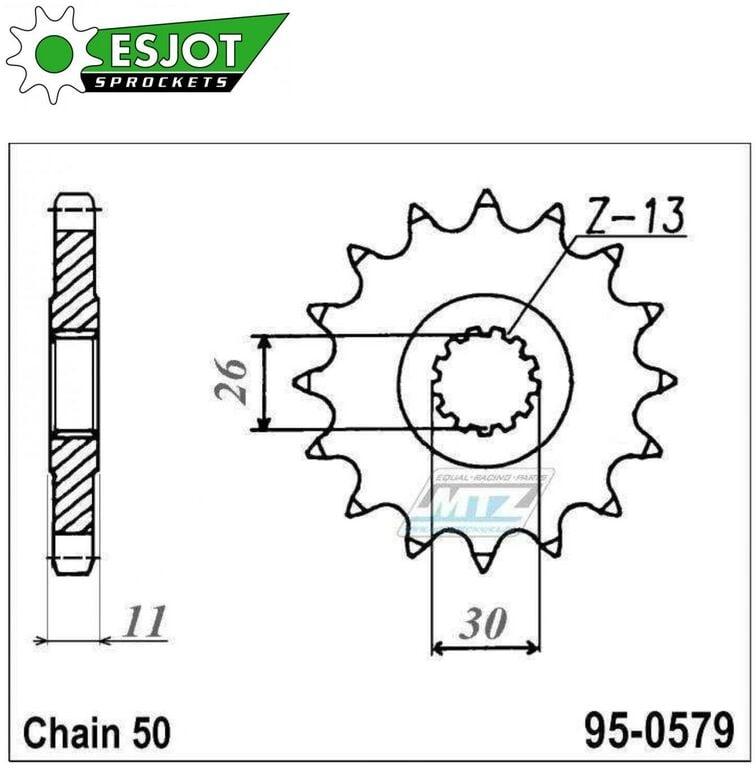 Obrázek produktu Řetězové kolečko (pastorek) 95-0579-17zubů ESJOT - Yamaha RD500LC + RZV500R + RZ500F + FZS1000 + FZ1 + YZFR + FZ1N,NA + FZ1S + FZ1 + FZIE + YZF-R1 + FJ1100 + FJ1200 + XJR1200 + XJR1300 + MT01 + XJR130