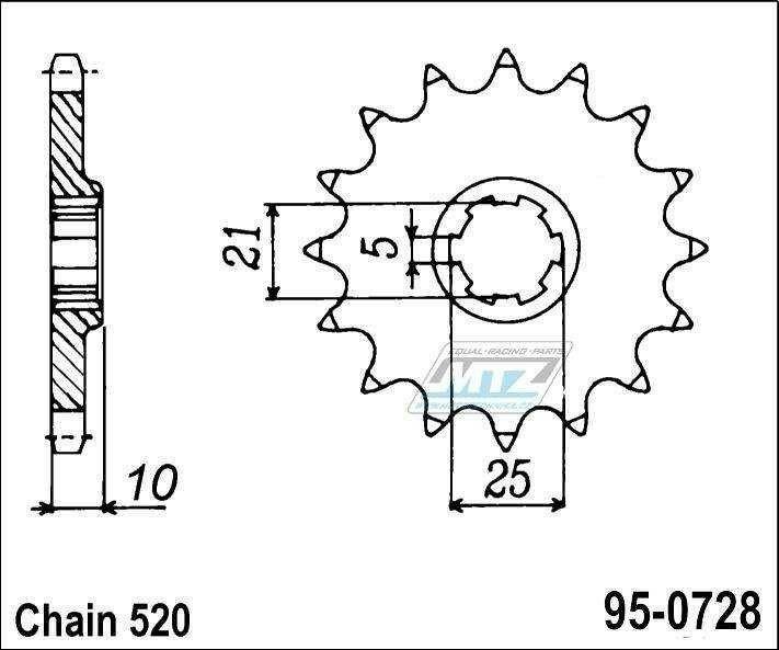 Obrázek produktu Řetězové kolečko MTZ - 95-0728-16 (5805)