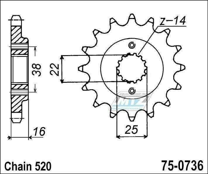 Obrázek produktu Kolečko řetězové 0736-14z MTZ