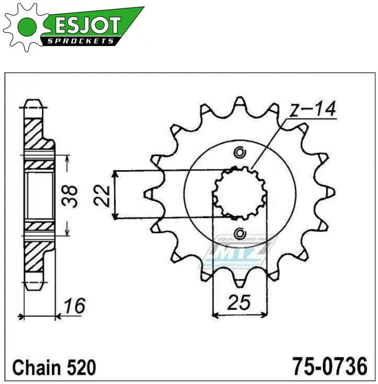 Obrázek produktu Kolečko řetězové 0736-14z ESJOT